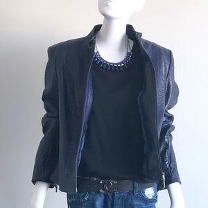 Danier Jackets & Coats - Danier Navy Blue embossed Leather Jacket